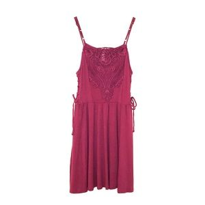 XHILARATION | Magenta Embroidered Lace Mini Dress